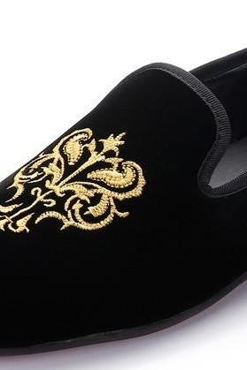 Men Blue Party Embroidery Velvet Slipper Shoes