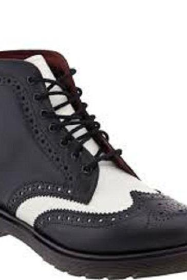 Men Black White Brogue Wingtip Lace Up Genuine Leather Boots
