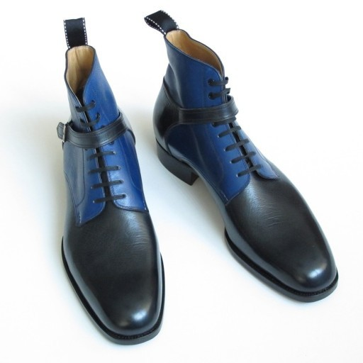 Handmade men Wrap Belted Chelsea boots, Men's leather boot