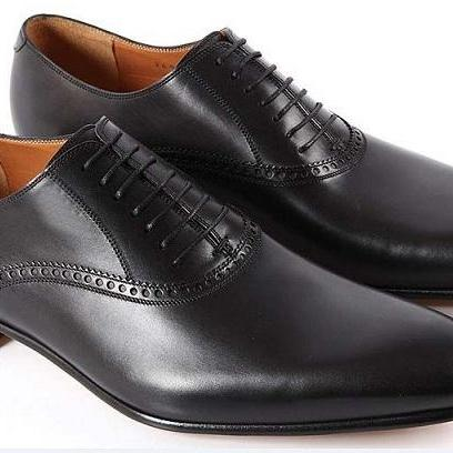 Handmade Men Black Formal Color shoes, Men's real Genuine leather shoe