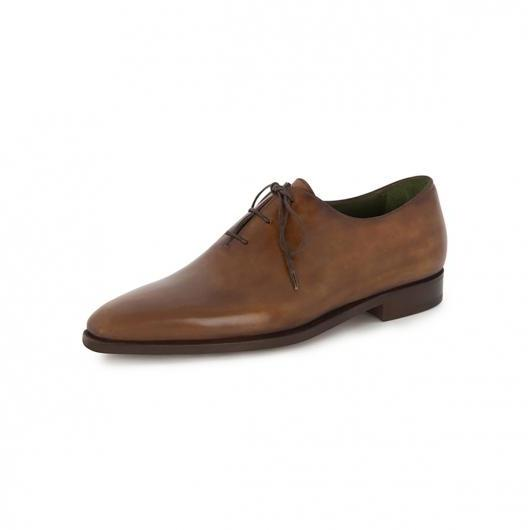 Handmade men brown genuine leather formal shoes, Men's lace up dress shoe