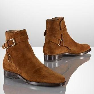 Handmade Men Brown Jodhpurs Ankle Boots, Men's Genuine Suede Boot