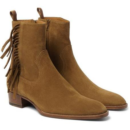 Handmade men tan color suede leather boots, Fringed ankle high boot