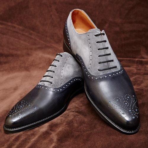 Handmade men dress leather brogue black and gray shoes, Men's two tone formal shoe
