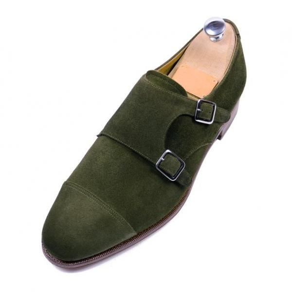 Handmade men dress suede leather oxford double monk shoes ,Men Hunter green shoe