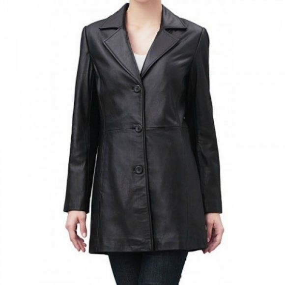 Leather Skin Women Black Front Buttons Genuine Real Leather Jacket Blazer