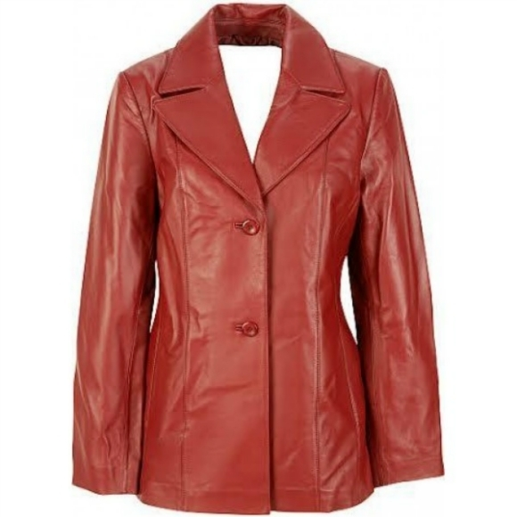 Leather Skin Women Red Genuine Real Leather Jacket Blazer with Front Red Buttons