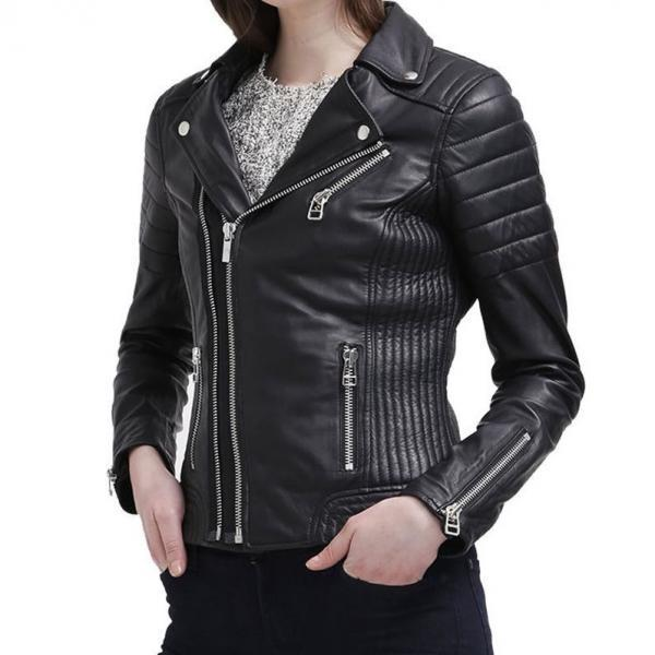Leather Skin Women Black Padded Rib Diamond Quilted Brando Leather Jacket