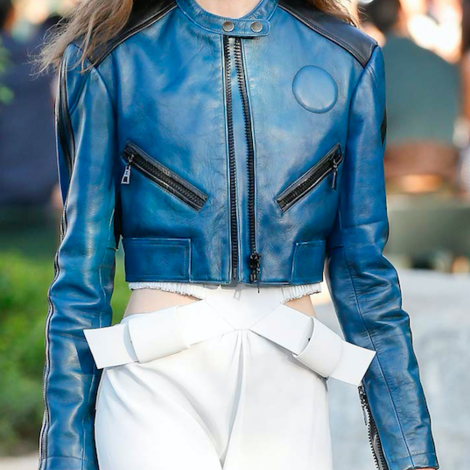 Leather Skin Women Blue Cropped Genuine Leather Jacket