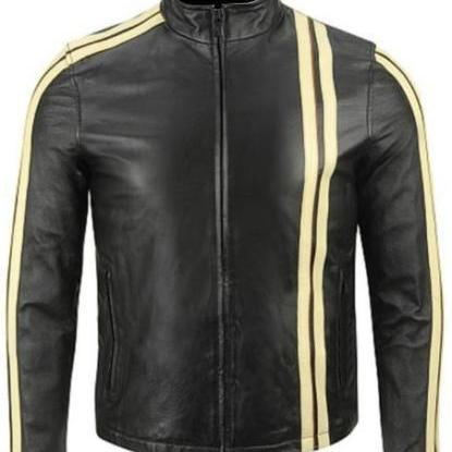Leather Skin Men Black Biker Motorcycle Leather Jacket with Yellow Stripes