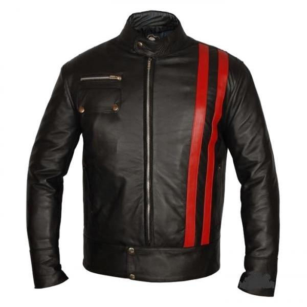 Leather Skin Red Stripes Premium Genuine Pure Leather Jacket Costume