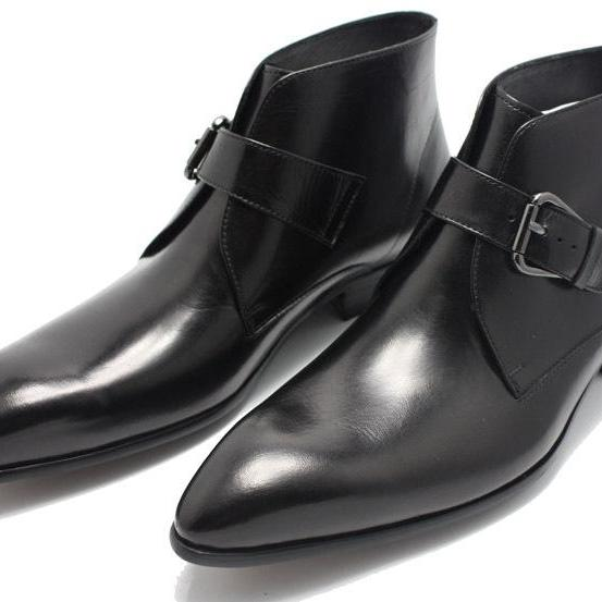 Men Black Handmade Genuine Leather Boots with Pointed Toe and Strap