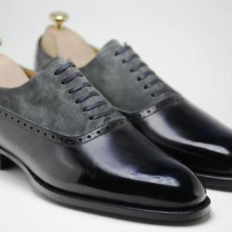 Men Oxford Brogue Laces Suede & Genuine Leather Shoes